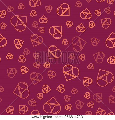 Brown Line Womens Booty In A Heart Shape With Panties On It Icon Isolated Seamless Pattern On Red Ba
