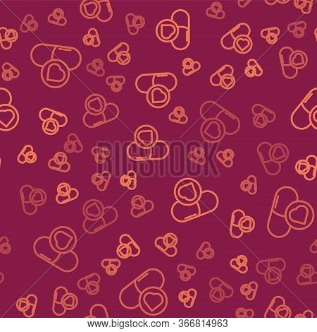 Brown Line Pills For Potency, Aphrodisiac Icon Isolated Seamless Pattern On Red Background. Sex Pill