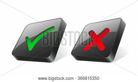 Cross And Check Mark Icons. Green And Red Ticks For Right And Wrong Choice On 3d Black Square Button