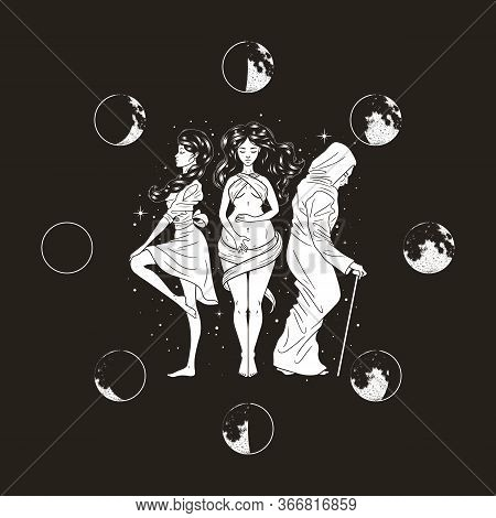 Three Women Figures, Symbol Of Triple Goddess As Maiden, Mother And Crone, Moon Phases. Hekate, Myth
