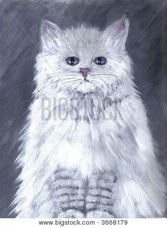 Painting White Cat