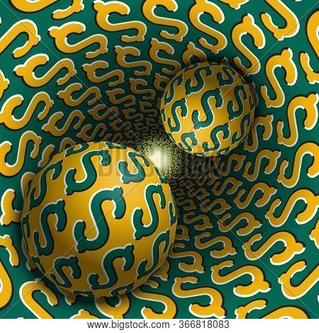 Two Balls Are Moving In Hole. 3d Objects Of Dollar Sign Pattern. Optical Illusion Abstraction In A S