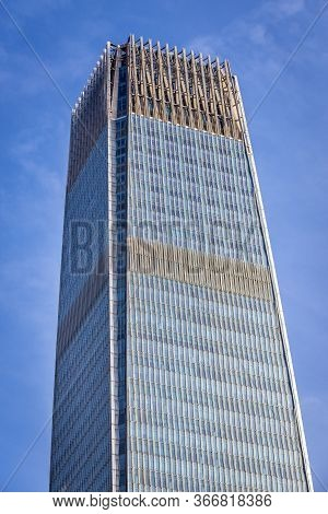 Beijing, China - February 9, 2019: Facade Of China World Trade Center Tower Iii In Cbd - Central Bui