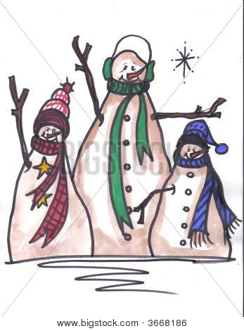 Snowmen Three Buddies