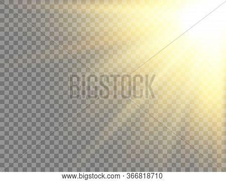 Sun Light On Transparent Background. Golden Glowing Light Effect. Sunlight Lens Flash. Magic Banner.