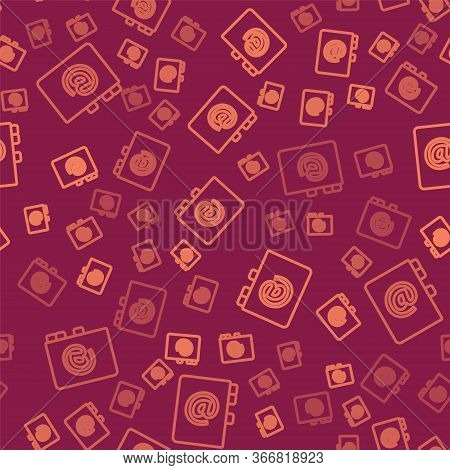 Brown Line Address Book Icon Isolated Seamless Pattern On Red Background. Notebook, Address, Contact