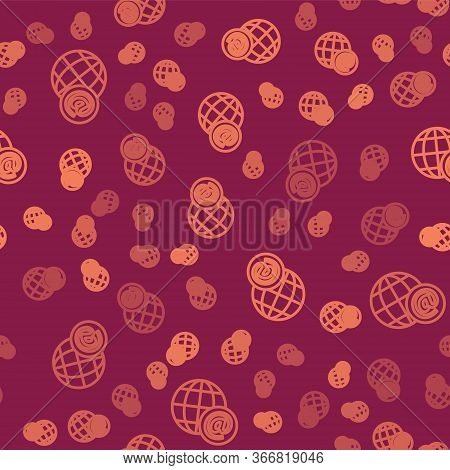 Brown Line Earth Globe With Mail And E-mail Icon Isolated Seamless Pattern On Red Background. Envelo