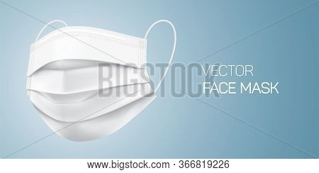 White Surgical Face Mask, Vector Illustration. Virus Protection Medical Mask, Isolated On Gray Gradi