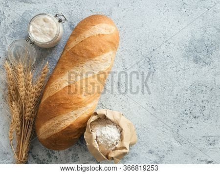 British White Bloomer Or European Sourdough Baton Loaf Bread On Gray Cement Background. Fresh Loaf B