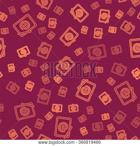 Brown Line Mail And E-mail Icon Isolated Seamless Pattern On Red Background. Envelope Symbol E-mail.