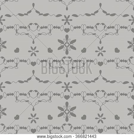 Seamless Pattern With Little Hearts. Color Grey And Light Grey . Vector.