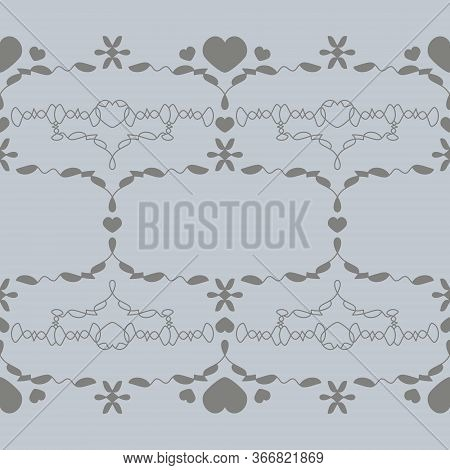 Seamless Pattern With Little Hearts. Color Light Blue And Grey . Vector.
