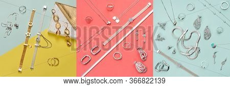 Silver And Gold Jewelry On Minimal Colorful Background. Rings, Bracelets And Earrings. Top View Of F