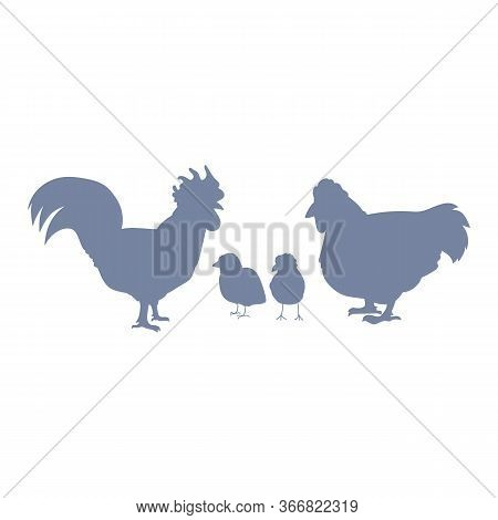 Cute French Farmhouse Chicken Family Silhouette Vector Clipart. Hand Drawn Rustic Style Poultry. Chi