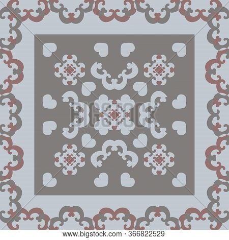 Seamless Pattern. Fancy Frame With Hearts. Grey, Light Blue, And Burgundy Color . Vector