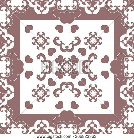 Seamless Pattern. Fancy Frame With Hearts. White And Burgundy Color . Vector