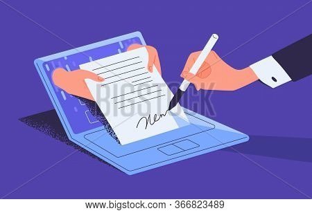 Man Putting Esignature Into Legal Document. Digital Signature Concept. Businessman Signing An Agreem