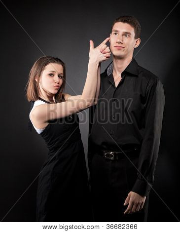 Portrait Of A Young Funny Couple In Love