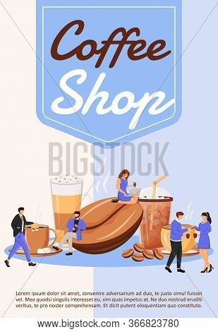 Coffee Shop Poster Flat Vector Template. Cafeteria Menu. Cafe, Restaurant. Iced Americano For Breakf