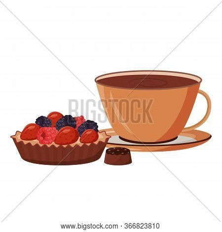 Coffee And Cake Cartoon Vector Illustration. Hot Chocolate In Mug. Cocoa And Baked Goods. Gourmet Pa