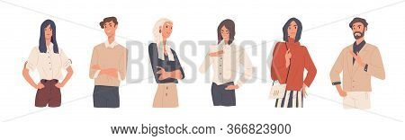 Set Of Man And Woman With Arrogant Face Expression Vector Flat Illustration. Collection Of Colorful