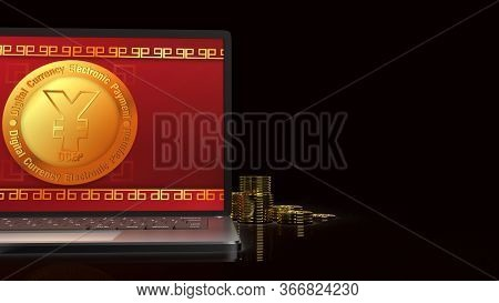 The Yuan Symbol On Gold Coins And  Notebook  3D Rendering For China Digital Currency Electronic Paym