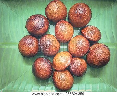 Kochi /kerala - 13th May 2020 : Home Made Traditional Kerala Snack Unniyappan On Green Banana Leaf R