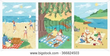 Summer Sea Vacation On Tropical Beach Holiday Concept Vector Illustration. People Play Volleyball On