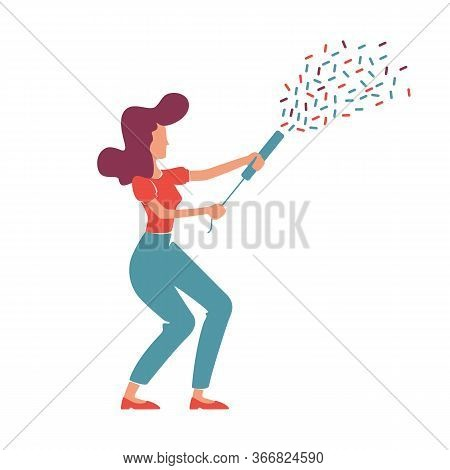 Retro Style Elegant Woman With Confetti Popper Flat Color Vector Faceless Character. Caucasian Girl