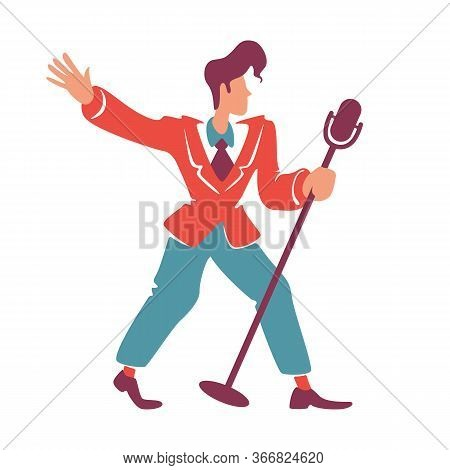 Blues Jazz Singer Posing With Microphone Flat Color Vector Faceless Character. Old Fashioned Guy In