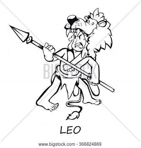 Leo Zodiac Sign Man Outline Cartoon Vector Illustration. Caveman In Lion Skin With Spear. Ready To U