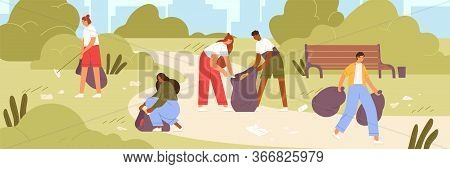 Cartoon Man And Woman Volunteer Cleaning Garbage In Park Vector Flat Illustration. Colorful Active P