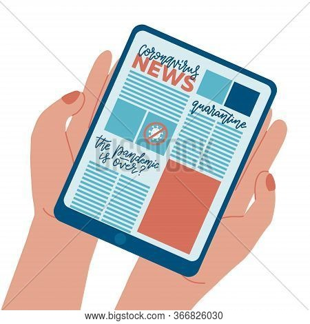 News Concept - Tablet Computer With Proven Facts And Science Facts About Coronavirus, Covid-19, Viru