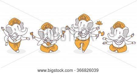 Lord Ganesha Vector Cartoon Cute Characters Set. Hindu God With Elephant Hand In Dance And Lotus Pos