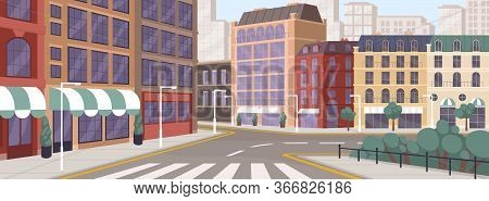 Colorful Street Of Modern European City Vector Graphic Illustration. Architecture Building Exterior