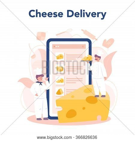 Cheese Maker Concept Online Service Or Platform. Professional Chef