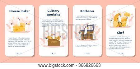 Cheese Maker Concept Mobile Application Banner Set. Professional