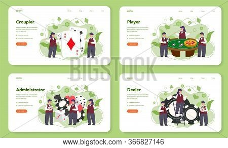 Croupier Web Banner Or Landing Page Set. Dealer In Casino Near