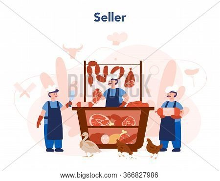 Butcher Or Meatman Concept. Fresh Meat And Meat Products