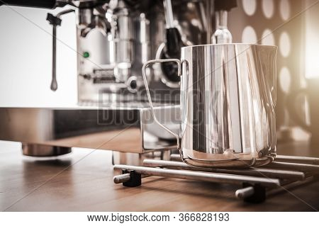 Coffee And Espresso Maker Barista Machine With Frothing Pitcher And Accessories.