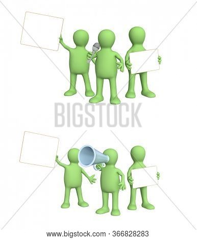 Advertising concept. Set of green puppets with information board and megaphone. 3d man holding white blank poster. Copy space for text. Mock up template. Isolated on white background. 3d render