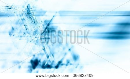 Abstract blue on white background. Fractal graphics 3d illustration. Science or technology concept.