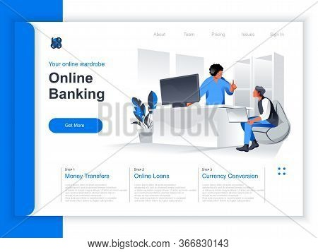 Online Banking Isometric Landing Page. Business People Use Computers, Manager Advising Client In Ban