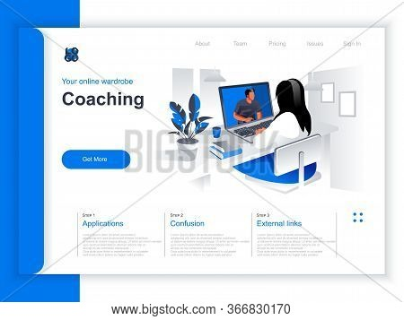 Coaching Isometric Landing Page. Woman Watching Online Webinar With Business Coach In Office Situati