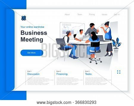 Business Meeting Isometric Landing Page. Team Of Colleagues Discussing Project In Conference Room Si