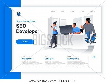 Seo Developer Isometric Landing Page. Marketing Team Working With Computer In Office Situation. Trac