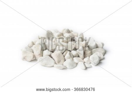 Marble Rubble On A White Background In The Form Of A Pile Of Stones. Marble Crushed Stone Fraction I