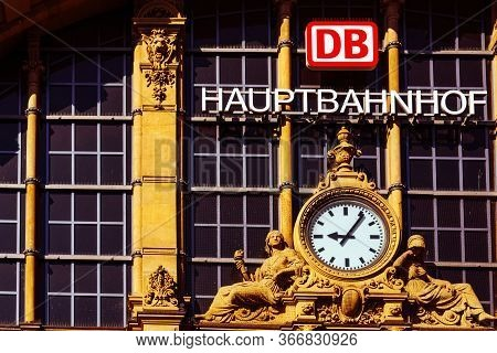 Frankfurt,germany - May 16,2020:main Station This Is A Part Of The Historic Facade Of The Main Entra