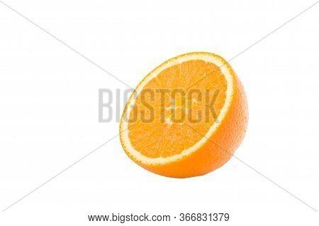 Half Cut Orange Fruit Isolate On White Background