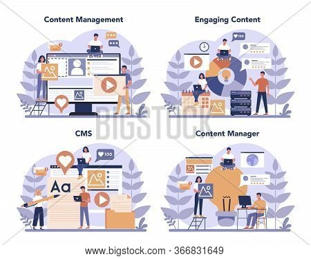 Content Management Concept Set. Idea Of Digital Strategy And Content
